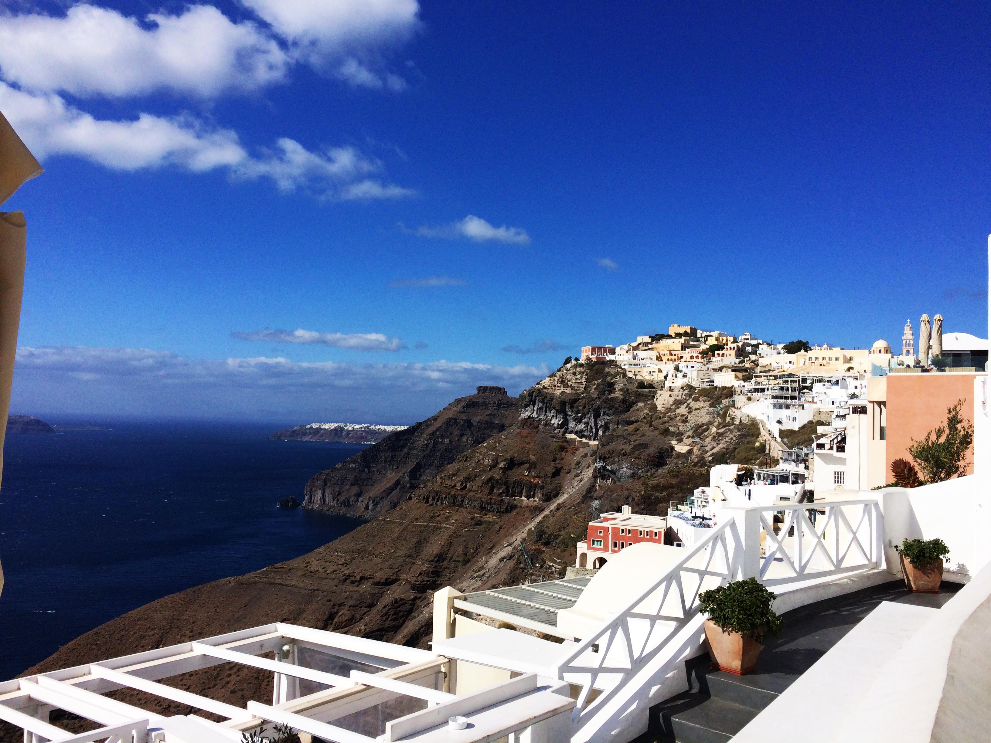 Santorini Grčka plavo more